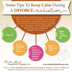 To make the divorce mediation process work and obtain a divorce decree as soon as possible, you must keep a divorce mediation conversation with your spouse civil. There are several tips to help you approach that conversation with the right mindset and maintain your composure throughout the divorce. Divorce Attorney, Divorce Lawyers, Divorce Mediation, Fort Lauderdale, Mindset, Conversation, Calm, Tips, How To Make