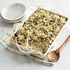 Chicken Tetrazzini from Cooking Light.  Outstanding!  My husband and super picky 4 year old loved it.  Makes a ton, I used leftover turkey from my freezer.