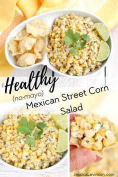The best side dish for Taco Tuesday, this Mexican Street Corn Salad is a healthier (no mayo) versian. Get the recipe at JessicaLevinson.com | #CincodeMayo #taconight #mexicanfood