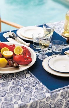 Red, White and Blue Beach House summer party table setting