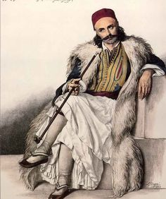 Markos Botsaris (Greek: Μάρκος Μπότσαρης, c. 1788 – 21 August was a general and hero of the Greek War of Independence and captain of the Souliotes. Botsaris is among the most revered national heroes in Greece. Greek History, Roman History, Monuments, Ancient Greek Costumes, Greek Independence, Greek Traditional Dress, Albanian Culture, Greek Warrior, Greek Art