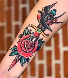 Retro Tattoos, Old Tattoos, Mini Tattoos, Black Tattoos, Body Art Tattoos, Sleeve Tattoos, Henna Tattoos, Tattoo Ink, Traditional Dagger Tattoo
