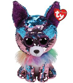 Yappy The Blue/Purple Chihuahua Flippable Medium is part of the Flippable Beanie Boos collection from Ty. Flippables are plush animals covered with sequins and when you pet the sequins, they turn over to reveal a different colour. Ty Beanie Boos, Beanie Babies, Lego Disney, Big Eyed Stuffed Animals, Ty Peluche, Ty Toys, Cartoon Dinosaur, Dog Birthday, Sequins
