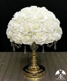 IVORY Rose Arrangement made with PREMIUM Real Touch Silk Roses. IVORY Wedding Centerpiece. Quinceaera. Sweet 16. Bridal Shower. PICK ROSE COLOR! 14 SIZE PICTURED.  GOLD STAND With CRYSTALS Sold Separately Flower Ball Centerpiece, Red Centerpieces, Mickey Centerpiece, Silver Centerpiece, Crown Centerpiece, Dusty Rose Wedding, Ivory Wedding, Peacock Wedding, Yellow Wedding