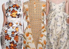 Suno S/S 2013-Floral Mixes – Foulard Pattern – Floral Sprigs – Country Chic – Metallic Sheen – Burnt Orange and Prairie Blue