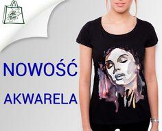 Czarna koszulka T-shirt damski AKWARELA druk DTG S