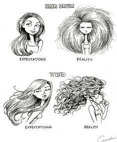 Cassandra, a 19-year-old artist and graphic design student, has a complicated relationship with her naturally curly hair. Anyone else out there with curls will know that they tend to be unruly and never look the way you want them to. To illustrate her point (literally), Cassandra came up with a series of drawings to highlight expectations versus reality in a number of hair-related scenarios. If you have curly hair, they'll hit painfully close to home! The struggle is real, people! Website…