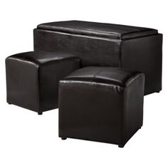 Sheridan Espresso Leather 3PC Double Storage Ottoman with Tray Plus 2 Side Ottomans.Opens in a new window