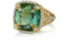 "Present Ring     Erica Courtney presents 18K Yellow Gold ""Present"" ring, featuring a 22.64ct green Tourmaline, accented with 1.88ctw Diamonds."