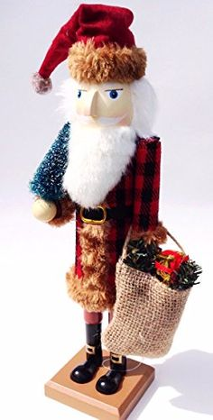 Large Unique Themed Decorative Holiday Season Wooden Christmas Nutcracker - Santa Claus (red plaid). #SantaClaus #Santa #Claus #Christmas  #Figurine #Decor #Gift #gosstudio .★ We recommend Gift Shop: http://www.zazzle.com/vintagestylestudio ★