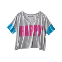 License Juniors Bold Happy Graphic Tee - Gray