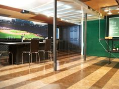 Basement Baseball Man Cave! A man cave that I might just have to be allowed into!-Paul would love this!