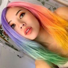 Multicolored Hair, Colorful Hair, Short Blue Hair, Unicorn Hair Color, Hair Icon, Queen Hair, Hair Dye Colors, Coloured Hair, Dye My Hair