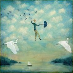 Limited edition giclée print of original Lucy Campbell art - Lucy Campbell print, tightrope walker, swallows, white cranes. by LupiArt on Etsy Illustrations, Illustration Art, Image Halloween, Original Paintings, Original Art, Oil Paintings, White Crane, Image Nature, Whimsical Art