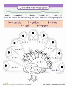 ... Grade Addition Color by Number Worksheets: Color the Peacock- More