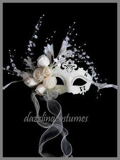 White Ivory Venetian Mask Masquerade Wedding Bride Gems Womens Costume Accessory | eBay