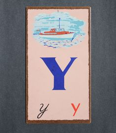 "THE LETTER ""Y""~Vintage Letter ""Y""  Flashcard"