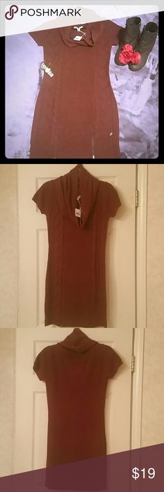 Sweater Dress Maroon color(cordovan) sweater dress with scarf. NWT. With two zippers on front bottom. Made of 100% Acrylic. Moral Fiber Dresses Mini