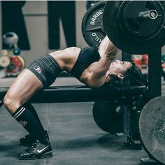 Fitness Inspiration. Those muscles are rad. #benchpress #powerlifting #woman