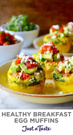 These Healthy Breakfast Egg Muffins are high in protein and low in carbs. Bake up a batch of these easy egg cups and stash any extras in the freezer for a healthy, 60-second morning meal. Best of all? You can customize the fillings and toppings to suit your tastes. justataste.com #eggcups #eggmuffinshealthy #healthybreakfast #healthyeggrecipes #mealprep #mealprepbreakfast #justatasterecipes Healthy Breakfast Muffins, Best Breakfast Recipes, Eat Breakfast, Brunch Recipes, Breakfast Specials, Healthy Breakfasts, Breakfast Ideas, Dinner Recipes, Egg Recipes