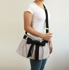 SALE - Small Light Gray Messenger Bag with Bow Sash, Purse, Canvas bag, Cross body bag, Travel, Shoulder Bag - Little Bowie by ickadybag on Etsy https://www.etsy.com/listing/170440832/sale-small-light-gray-messenger-bag-with