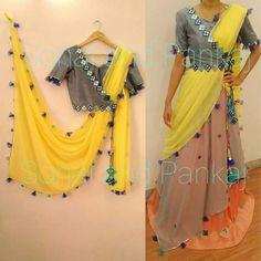 4 Piece Yellow and Grey Lehenga - Choli Designs, Blouse Neck Designs, Dress Designs, Saris, Indian Dresses, Indian Outfits, Stylish Blouse Design, Saree Blouse Patterns, Indian Attire