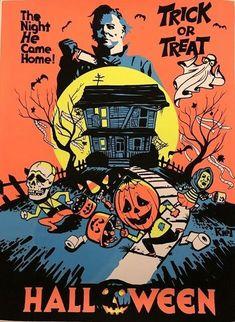 John Carpenter's Halloween Black Light Poster Michael myers Not Mondo Retro Halloween, Spooky Halloween, Halloween Movies, Scary Movies, Vintage Halloween Posters, Halloween Crafts, Retro Horror, Vintage Horror, Halloween Wallpaper Iphone