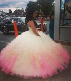 Quinceanera Dress----another option instead of the pink---white with a touch of pink