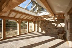 The nature of oak framed orangeries allows for flexibility in the design, giving the opportunity to add stunning oak features such as exposed rafters. Orangery Extension Kitchen, Cottage Extension, Garden Room Extensions, House Extensions, Orangery Conservatory, Oak Framed Extensions, Oak Framed Buildings, Harris House, Exposed Rafters