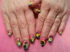 Ombre tropical fade and hand painted tropical nail art on acrylic by bsims Fading Nails, Acrylic Nail Designs, Acrylic Nails, Tropical Nail Art, Perms, Hair Colors, Hand Painted, How To Make, Painting