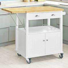 Desserte en bois massif tiroirs cuisine et serviettes - Plan de travail mobile ...