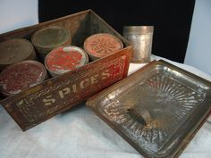 Early Tin Spice Set Tole Stencils 6 Tins and Tin Box 5 3 8 x 8 x 3 1 4 | eBay