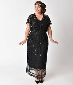 Get a dazzling, dreamy look when you wear this breathtaking black beaded flapper dress featuring art deco designs from Unique Vintage. Great Gatsby Outfits, Party Outfits For Women, 1920s Outfits, Gatsby Dress Plus Size, Plus Size Dresses, Plus Size Outfits, Gatsby Fancy Dress, Beaded Flapper Dress, 1920s Dress
