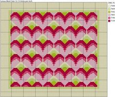 Get This Free Bargello or Long Stitch Hearts Needlepoint Design: How to Make The Long Stitch Hearts Needlepoint Project