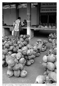 Coconuts at a fruit stand in Iliili. Tutuila, American Samoa