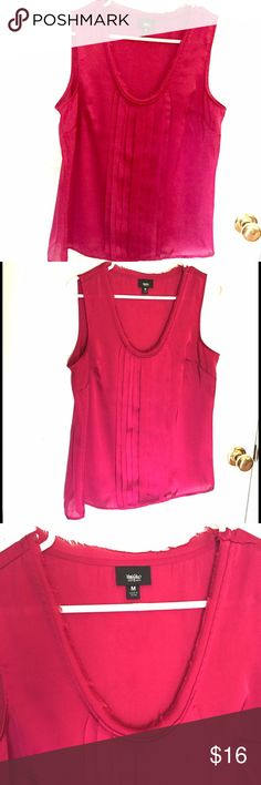 🚨 LAST CALL 🚨Lipstick Pink Sleeveless Blouse Pretty bright pink bliss with front pleating and a raw edge trim. Size medium. Excellent condition. Mossimo Supply Co Tops Blouses