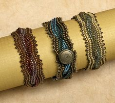 From the February 2009 issue: Cabled bracelet designed by Rae Arlene Reller | BeadandButton.com