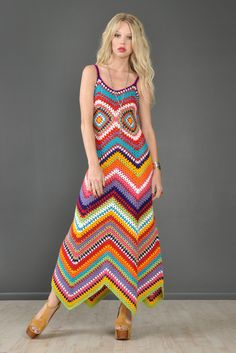 No pattern - this was for sale - see more pictures of this dress at site.1-of-a-Kind Bustown Custom Rainbow Crochet Maxi Dress | BUSTOWN MODERN