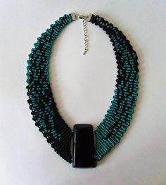 MacrameMarika / Macramé náhrdelník Green and black Turquoise Necklace, Beaded Necklace, Jewerly, Origami, Green, Handmade, Black, Fimo, Beaded Collar