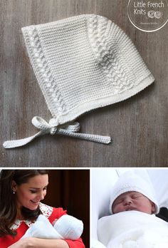 Knitting Pattern for Prince Louis Royal Baby Bonnet - Baby bonnet inspired by the bonnet the newborn Prince Louis wore on leaving the hospital. Size : Newborn - 3 months. Designed by Little French Knits. Available in English and French.