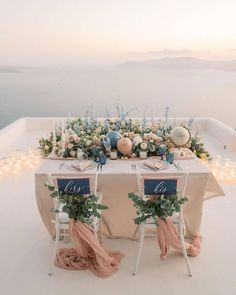 bridal_vogue Table for 2 please Who is considering a sweetheart table If you are, do it to the nth degree so its a statement piece like this / adrian. Budget Wedding, Wedding Table, Destination Wedding, Wedding Day, Dream Wedding, Blue Wedding, Wedding Things, Summer Wedding, Wedding Pastel