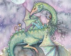 Nomads Unicorn and Fairy Fine Art Giclee by MollyHarrisonArt
