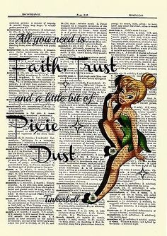 Tinkerbell Dictionary Art Print Poster Picture Disney Peter Pan Tinker Bell