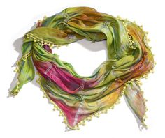 - Green Rosettes Triangle Scarf