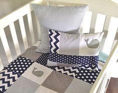 Moby Whale Baby boy Quilt and two cushion covers, (grey)