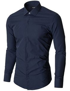 Mens slim fit navy business dress shirt with hidden closer. Fashion Wear, Mens Fashion, Fashion Outfits, Long Sleeve Fitted Dress, Slim Man, My Outfit, Black Men, Menswear, Men Shirts