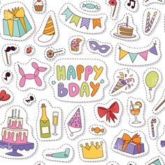 Happy Birthday Sign Discover Celebratory seamless pattern with gifts balloons confetti hearts. Happy Birthday Icons, Happy Birthday Celebration, Happy Birthday Greetings, Birthday Cards, Cake Birthday, Happy Birthday Illustration, Printable Stickers, Cute Stickers, Free Printable