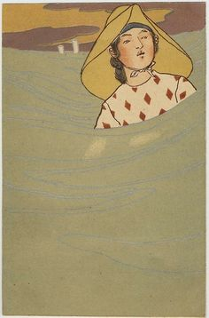 Woman in Waves,Nisshodo Postcard, Boston Museum of Fine arts Lucia Baeza さんの Japanese Postcards ボードのピン | Pinterest