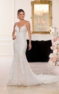 BACKLESS SHEATH WEDDING GOWN A dream style for the bride in search of a modern – yet glamorous – gown, this backless wedding dress is everything you could want! Featuring an on-trend high neckline, this lace. Sheath Wedding Gown, Lace Wedding Dress, Backless Wedding, Best Wedding Dresses, Perfect Wedding Dress, Bridal Dresses, Bridesmaid Gowns, Bling Wedding, Stella York Wedding Gowns