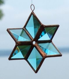Turquoise Beveled Stained Glass Star Ornament